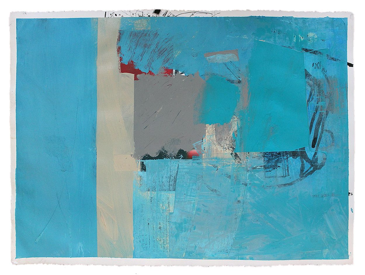 phil stallard swimming blue abstract on paper